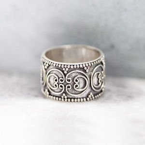 Detailed Boho Sterling Silver Band Ring
