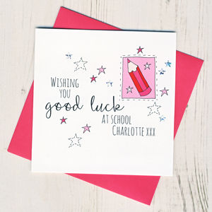 Personalised Pencil Good Luck At School Card