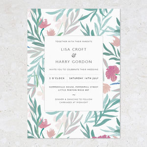 Jungle Flower Wedding Invites - wedding stationery