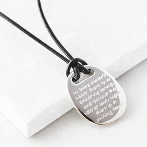 Personalised Men's Silver Message Pendant