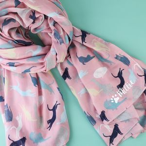 Illustrated Cat Print Scarf