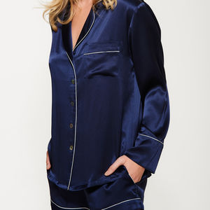 Navy Short Silk Pyjama Set - gifts for her
