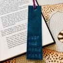 'Just One More Page' Embossed Leather Bookmark