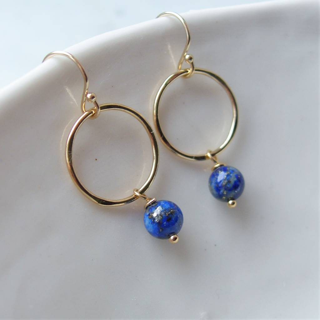 drop lapis earrings disc from with jewellery stud stone azuni lazuli