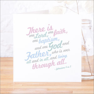 'One Baptism' Contemporary Bible Verse Card - christening cards