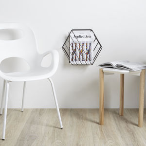 Hexagonal Magazine Rack Wall Organiser