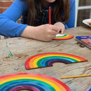 Children's Hanging Wooden Rainbow Of Hope To Colour