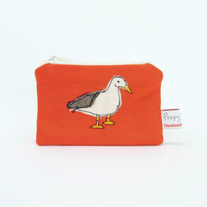 Duck Embroidered Small Zip Coin Purse