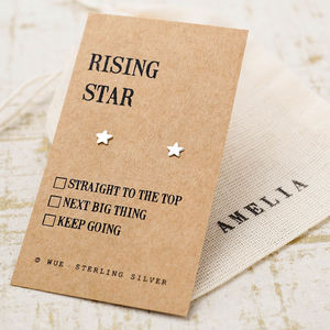 'Rising Star' Silver Earrings - best personalised corporate gifts