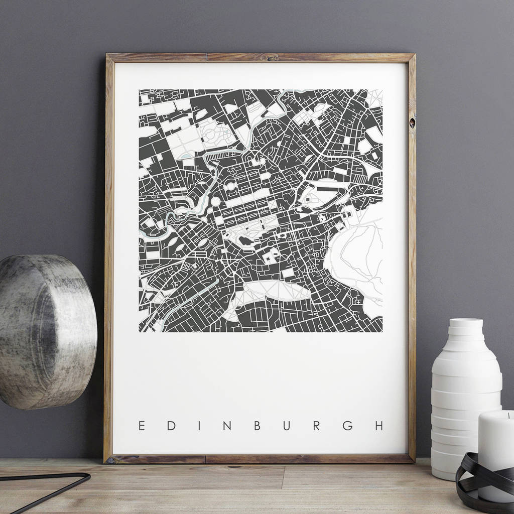 Map Of Germany With Cities%0A Edinburgh Map Art Print Limited Edition
