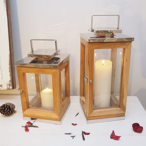 Reclaimed Wooden Candle Lantern - candles & home fragrance