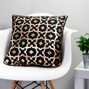 Metallic Cushion In Black And Copper - cushions
