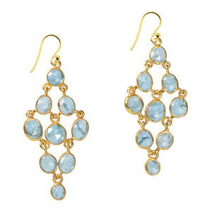 Tara Chandelier Earrings Aquamarine Silver - earrings