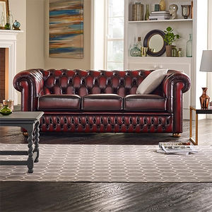 Red Chesterfield Three Seater Sofa - sofas