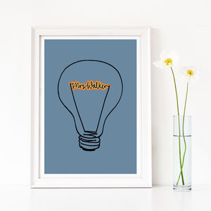 Personalised Lightbulb Print, Add Your Own Name