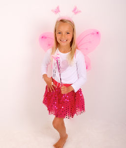 Fairy Sparkle Tutu With Wings Set Hot Pink