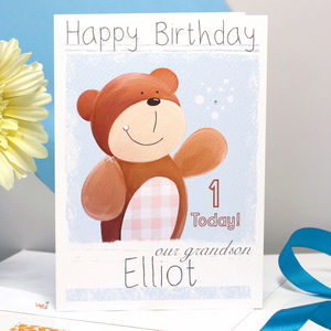 Personalised Bear Relation Birthday Card - children's birthday cards