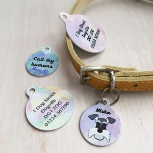 Watercolour Personalised Dog ID Name Tag Bauble - walking