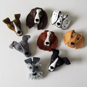 Handmade Felt Dog Brooch - pins & brooches