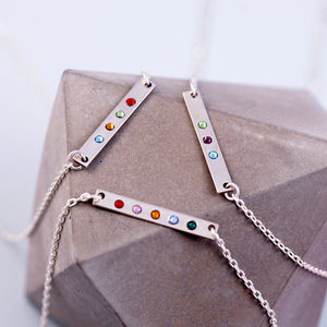 Sterling Silver Birthstone Bar Necklace