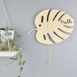 Personalised Tropical Monstera Leaf Jewellery Hanger