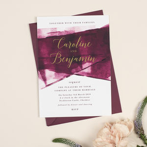 Berry And Gold 'Grace' Wedding Invitations - invitations