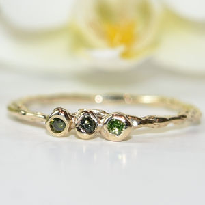 Gold Ring Set With Three Green Diamonds - rings