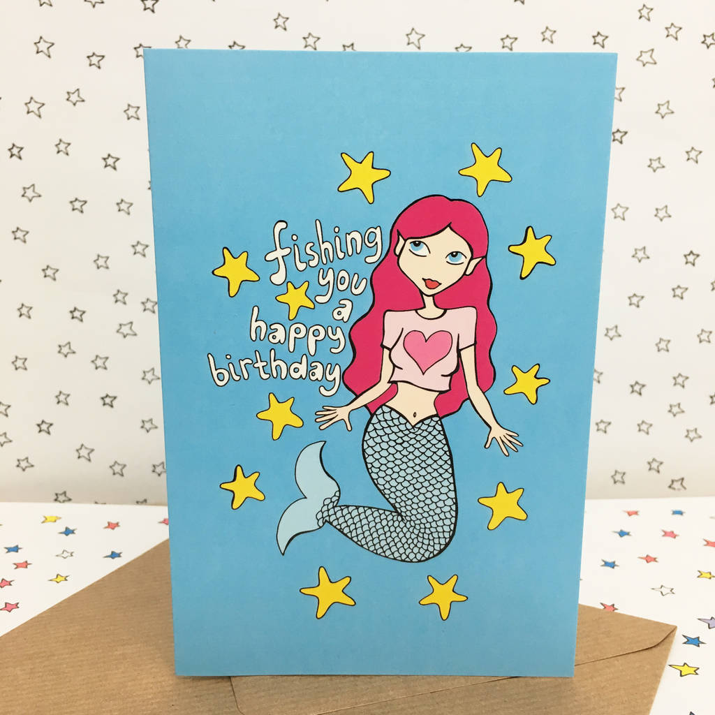 Mermaid birthday card birthday card for her by ladykerry mermaid birthday card birthday card for her bookmarktalkfo Images