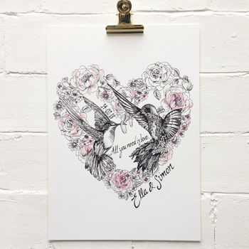 Wedding Hummingbirds Personalised, Unframed Print