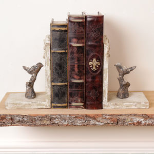 Perched Birds Wooden Bookends