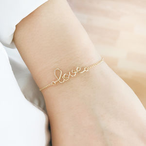 'Love' 14k Gold Filled Bracelet - bracelets & bangles