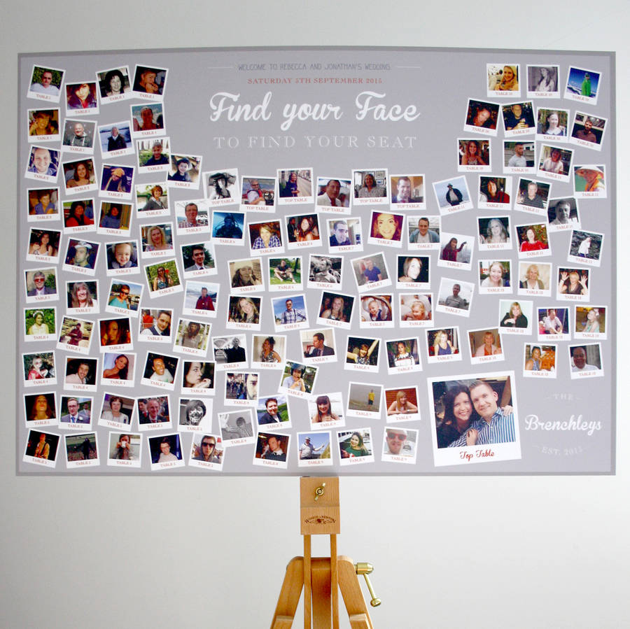 Photo Collage Find Your Face Wedding Table Plan