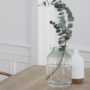 Clear Glass Vase With Green Or Blue Detail - whatsnew