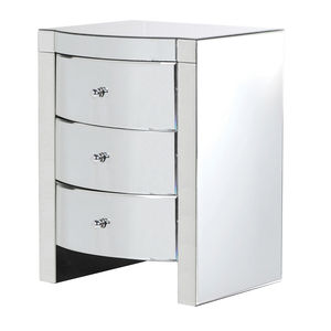 Curvy Mirrored Three Drawer Bedside