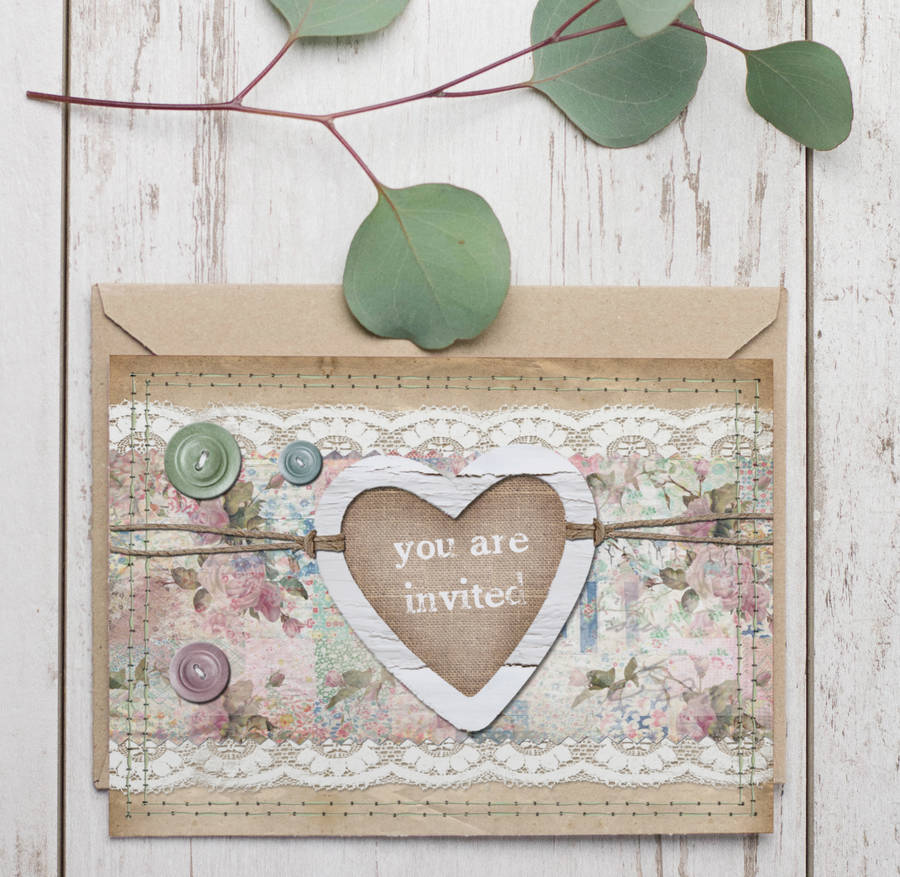 20 Pack Of Homespun Wedding Invitations By Lucy Ledger