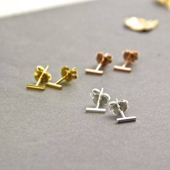 Contemporary Line Bar Stud Earrings