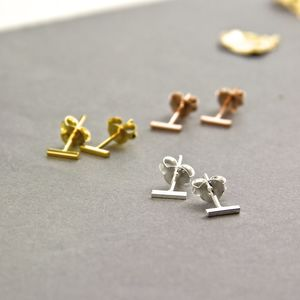 Contemporary Line Bar Stud Earrings - earrings