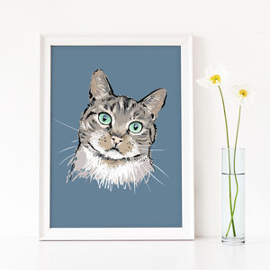 Cat Portrait In Sketchy Style - pet portraits