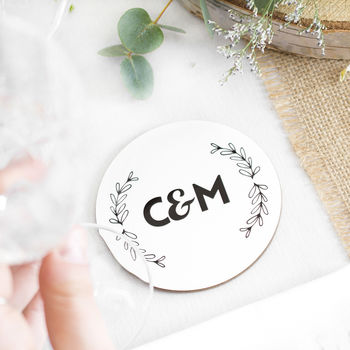 Wedding Top Table Couples Initials Drinks Coaster
