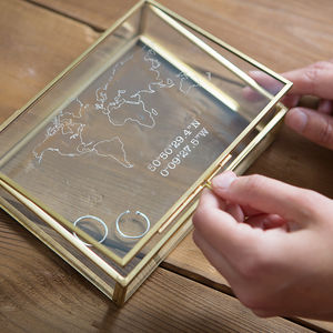 Personalised Glass Map And Coordinates Rectangular Box - frequent traveller
