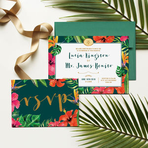 Hawaii Tropical Floral Wedding Invitation