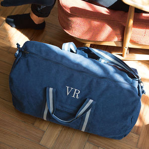 Personalised Vintage Canvas Holdall - frequent traveller