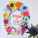 Personalised Summer Flowers Wedding Papercut Print