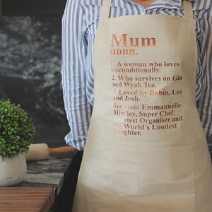 Personalised Mum Dictionary Apron