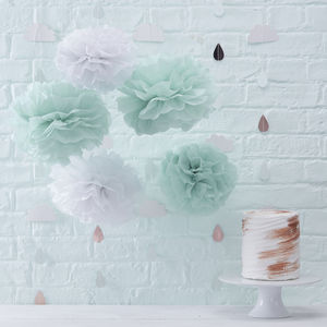 Mint Green And White Tissue Paper Pom Poms - children's parties