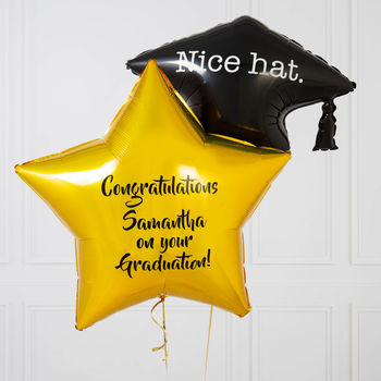 Inflated Personalised Graduation Hat Balloon Bunch