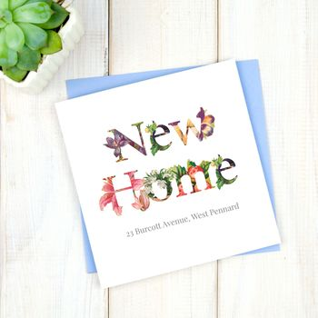 Personalised Floral New Home Card