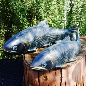 Set Of Two Koi Carp Garden Sculptures