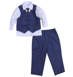 Boy's Formal Wedding Blue Suit With Tie
