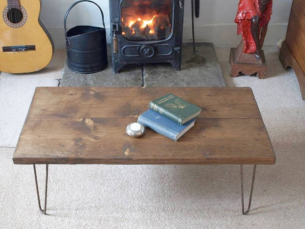 Reclaimed Scaffold Board Hairpin Leg Coffee Table By Seagirl And Magpie